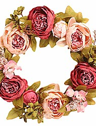 cheap -15'' wreath for front door peony flower wreath artificial floral wreath with green leaves, spring summer garland wreath for wall wedding party home décor red peony