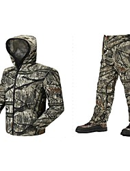 cheap -Men's Unisex Hunting Jacket with Pants Outdoor Windproof Quick Dry Breathable Wear Resistance Spring Summer Camo / Camouflage Clothing Suit Polyester Camping / Hiking Hunting Fishing Jungle camouflage