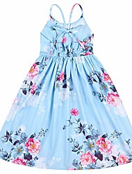 cheap -floral vintage maxi girls dress blue summer junior party dress(8 years old, blue)