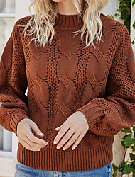cheap -Women's Knitted Solid Color Pullover Acrylic Fibers Long Sleeve Sweater Cardigans Turtleneck Fall Blushing Pink Khaki Green