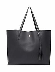 cheap -women tote bags top handle handbags soft pu leather tassel shoulder purse big capacity for work school travel black