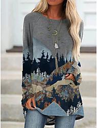 cheap -Women's T Shirt Dress Tee Dress Short Mini Dress - Long Sleeve Color Block Print Fall Casual Loose 2020 White Blue Blushing Pink Dusty Blue Light gray Dark Gray Light Green Navy Blue Rainbow Gray S M