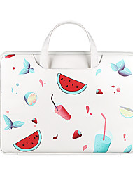 cheap -Unisex Waterproof PU Laptop Bag Zipper Floral Print Daily Office & Career White Black Red Milky White