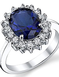 cheap -solid sterling silver kate middleton's engagement ring with simulated sapphire blue color cubic zirconia