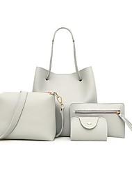 cheap -4 pcs / 1 set women leather handbag - light grey / 4 pcs