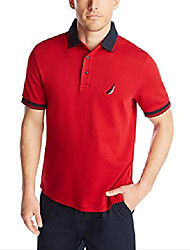 cheap -men's short sleeve 100% cotton tipped polo shirt, red, x-large