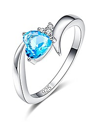 cheap -created blue topaz 925 sterling silver plated heart plated ring for women