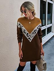 cheap -Women's Sweater Jumper Dress Short Mini Dress - Long Sleeve Leopard Patchwork Print Fall Winter Casual 2020 Black Khaki S M L XL