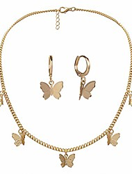 cheap -butterfly necklace earrings set adjustable butterfly chain necklace charm hoop earrings butterfly jewelry for women girls birthday mother's day christmas gifts gold