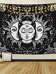 cheap -sun and moon tapestry, burning sun with stars psychedelic popular mystic wall hanging tapestry black and white beach blanket & #40;large-79 x 59 in& #41;