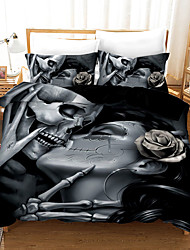 cheap -Halloween Duvet Cover Set, Happy Halloween Human Skeleton Kiss Skull Bones Image, Decorative 2/3 Piece Bedding Set with 1 or 2 Pillow Shams, Queen King Size,Black
