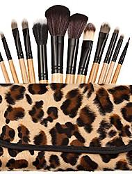 cheap -12pcs pro. natural makeup make up brush set kit kabuki cosmetic foundation blusher tool (yellow leopard print)