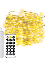cheap -10m String Lights 100 LEDs EL 2 USB Cable 1*USB Cable 2pcs 1pc Warm White Halloween Christmas Waterproof Outdoor Decorative Batteries Powered Rechargable