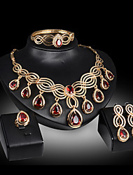 cheap -Women's Jewelry Set Bridal Jewelry Sets 3D Pear Fashion Gold Plated Earrings Jewelry Red / Yellow For Christmas Wedding Halloween Party Evening Gift 1 set