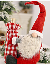 cheap -Christmas Forest Old Man Holding Wine Bottle Cover Holiday Decoration Supplies Red Wine Cover Old Man Wine Bottle Bag
