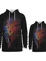 cheap -Daddy and Me Active Lion Graphic 3D Print Animal Print Long Sleeve Regular Hoodie & Sweatshirt Rainbow
