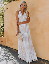 cheap -Women's Shift Dress Maxi long Dress - Sleeveless Solid Color Backless Lace Spring Summer V Neck Casual Loose 2020 White Blushing Pink Royal Blue S M L XL