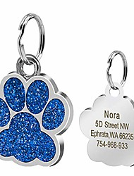 cheap -large glitter paw print custom pet id tags for medium large dogs and cats,personalized engraving,blue