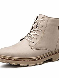 cheap -ankle boots for men lace up genuine leather round toe solid color retro high top shoes (color : beige, size : 41 eu)