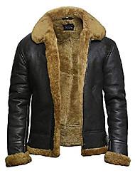 cheap -mens aviator b3 world war2 real shearling sheepskin flying jacket (large, brown)