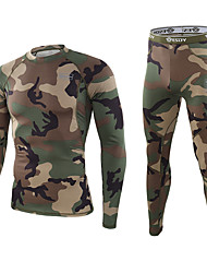 cheap -Men's Hunting T-shirt Outdoor Warm Quick Dry Soft Thick Fall Winter Spring Camo / Camouflage Clothing Suit Polyester Camping / Hiking Hunting Fishing Black Camouflage