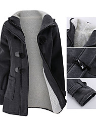 cheap -Women's Jacket Solid Colored Basic Fall & Winter Regular Daily Long Sleeve Wool Coat Tops Blue