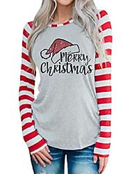 cheap -merry christmas hat shirt women funny christmas stripe long sleeve o-neck splicing tops t-shirt grey