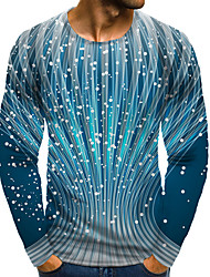 cheap -Men's 3D Graphic Plus Size T-shirt Print Long Sleeve Daily Tops Elegant Exaggerated Round Neck Blue
