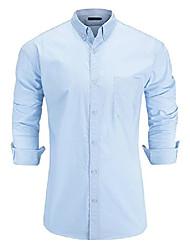 cheap -men's 100% oxford cotton slim fit long sleeve button down solid dress shirt large light blue