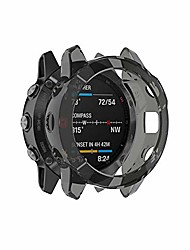 cheap -case compatible with garmin fenix 6 smartwatch clear tpu shockproof anti-scratch case cover case skin full around protection cover flexible anti-scratch bumper for fenix 6 smartwatch (black)