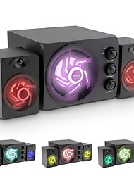 cheap -D-209 Wooden/ABS Audio Desktop Computer Speakers Bluetooth Stereo Seven-colors Light Subwoofer Bass Mini USB PC Speaker