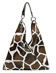 cheap -Women's Bags PU Leather Top Handle Bag Pattern / Print Chain Handbags Daily Black / White Brown