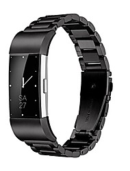 cheap -fitbit charge 2 wrist band, stainless steel metal replacement smart watch band bracelet with double button folding clasp for fitbit charge 2 (black)