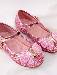 cheap -Girls' Flats Comfort Flower Girl Shoes Princess Shoes Patent Leather PU Little Kids(4-7ys) Daily Party & Evening Walking Shoes Crystal Bowknot Pearl Pink Silver Fall Spring