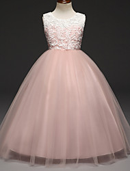 cheap -Ball Gown Floor Length Party / Wedding Flower Girl Dresses - Lace / Tulle Sleeveless Jewel Neck with Tiered