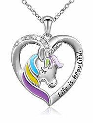 """cheap -925 sterling silver engraved life is beautiful rainbow unicorn in heart necklace, rolo chain 18"""""""