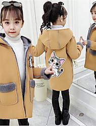 cheap -Kids Girls' Jacket & Coat Yellow Blushing Pink Khaki Cat Graphic Active