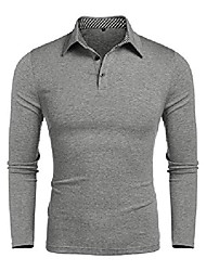 cheap -mens long sleeve casual button up collared slim fit work golf polo t shirt (xl, light grey polo shirt)