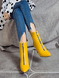 cheap -Women's Boots Kitten Heel Pointed Toe Booties Ankle Boots Classic Daily Walking Shoes PU Sequin Solid Colored Yellow Red Blue / Mid-Calf Boots
