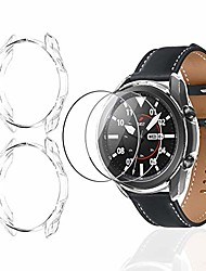 cheap -(2+2 pack) case for samsung galaxy watch 3 41mm with screen protector, tpu soft protective bumper shell with tempered glass screen protector film for galaxy watch 3 41mm (clear & clear)