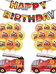 cheap -Party Balloons 25 pcs Fire Engine Happy Birthday Party Supplies Latex Balloons Banner Boys and Girls Party Birthday Decoration 12 Inch for Party Favors Supplies or Home Decoration