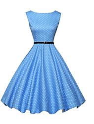 cheap -Women's Sheath Dress Knee Length Dress - Sleeveless Polka Dot Patchwork Summer Vintage Slim 2020 Blue S M L XL XXL
