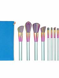 cheap -10pcs/set pro makeup brushes set foundation blending eyeshadow contour blush eyebrow nose lip brush cystal clear acrylic,blue