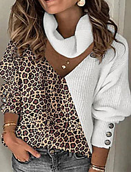 cheap -Women's Knitted Leopard Sweater Long Sleeve Sweater Cardigans V Neck Fall Winter White Khaki