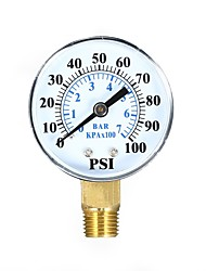 cheap -0100psi 07bar Dual Scale Mechanical Pressure Gauge Pool Filter Aquarium Water Air Gas Pressure Gauge Meter 1/4 inch NPT Bottom Mount