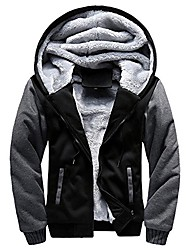 cheap -men's coat, foruu m-5xl hoodie winter warm fleece zipper sweater jacket outwear bk/xl black