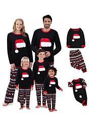 cheap -Family Look Graphic Print Long Sleeve Regular Regular Clothing Set Black