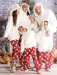 cheap -2 Piece Family Look Santa Claus Animal Print Long Sleeve Regular Clothing Set White