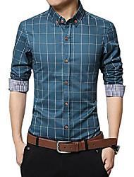 cheap -men's 100% cotton long sleeve plaid slim fit button down dress shirt (xxl, acid blue)
