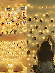 cheap -LED Photo Clip Light Chains for Room 100 LED 10 m Picture Frame Decoration for Indoor Home Christmas Wedding Bedroom (With 50 Wooden Pegs 20 Nails)